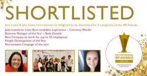 Jane Lewis Shortlisted for IRP Awards